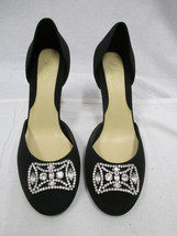 COLE HAAN Black Satin D'Orsay Pumps w/ Crystal Front Clip - Size 38.5 - $39.99