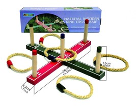 Ring Toss Set Wooden Lawn Game Outdoor Play Activity Backyard Tailgate C... - $10.94