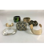 Lot of 7 Cuff and Bangle Bracelets Goldtone, Silvertone, Floral Unbranded - $27.93