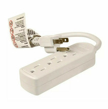"""Electrical 3 Outlet Power Strip 12"""" Extension White Bedroom Kitchen Tv Radio image 2"""