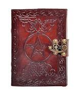 Pentagram Leather Journal Geniune Handmade Pentacle Wicca Witch Craft Sp... - $24.96