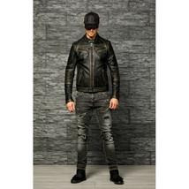 Men's Motorcycle Biker Vintage Distressed Black Cafe Racer Real Leather ... - $99.99