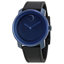 BRAND NEW MOVADO BOLD 3600408 SWISS BLACK LEATHER BLUE DIAL UNISEX WATCH - $257.39