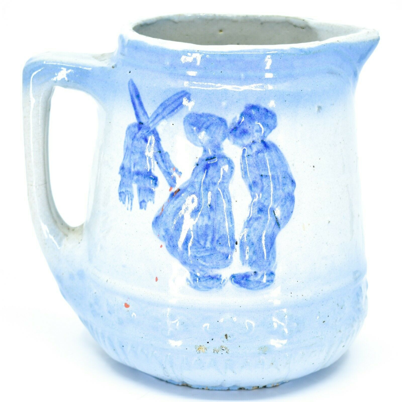 "Vintage Delft Blue Style Windmill Kissing Dutch Couple Stoneware 7"" Pitcher"