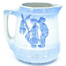 "Vintage Delft Blue Style Windmill Kissing Dutch Couple Stoneware 7"" Pitcher image 1"
