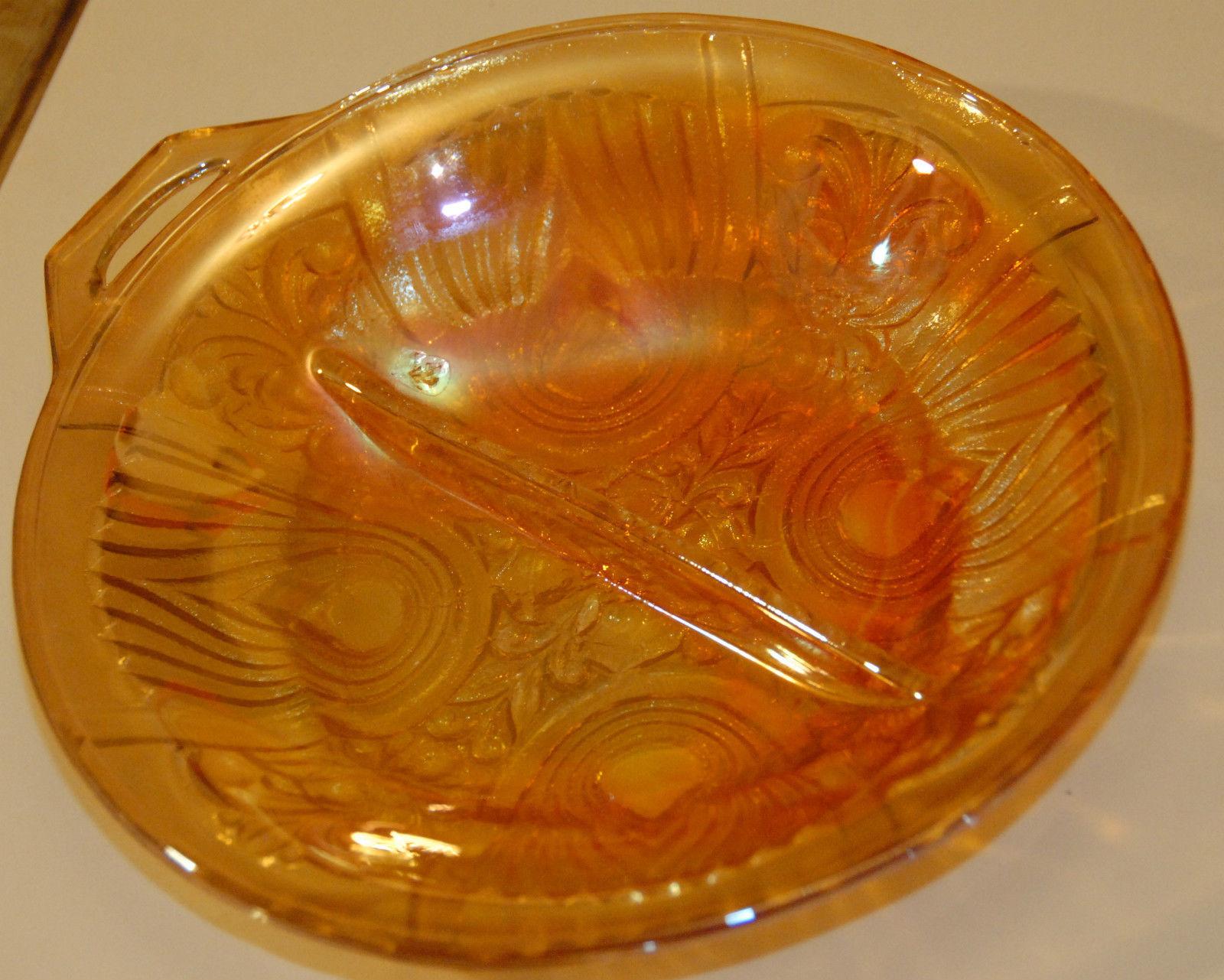 "KILLNARNEY 7 3/4"" MARIGOLD CARNIVAL IRIDESCENT ORANGE 2 PART RELISH DISH GLASS"