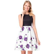 AOVEI Purple Floral Print Black Vest Hit Color A Line Cute Pleated Swing Dress - $24.99