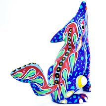 Handmade Oaxacan Copal Wood Carving Painted Folk Art Howling Wolf Coyote Figure image 5