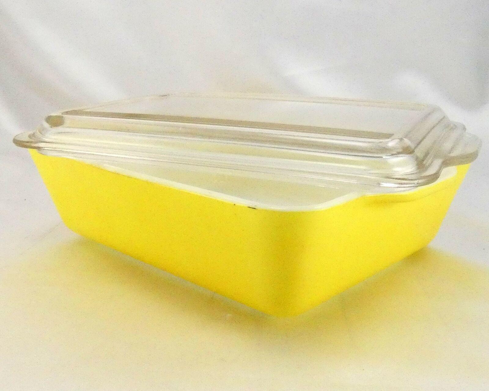 Pyrex 503 Banana Yellow Fridge Dish Milk Glass w/ Lid Made in the USA