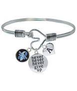 Custom Castleman Disease Awareness Never Give Up Bracelet Choose Initial... - $17.66