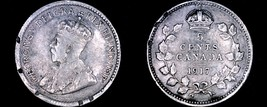 1917 Canada 5 Cent World Silver Coin - Canada - George V - Rim Damage - $5.75