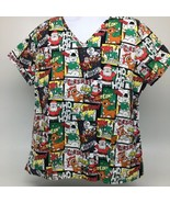 Holiday Scrub Top Rudolph The Red Nosed Reindeer Christmas Size XL - $12.19