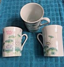Set Of Three Lotus Garden By Otagiri Japan Cups Mugs Teacups Delicate Ch... - $24.75