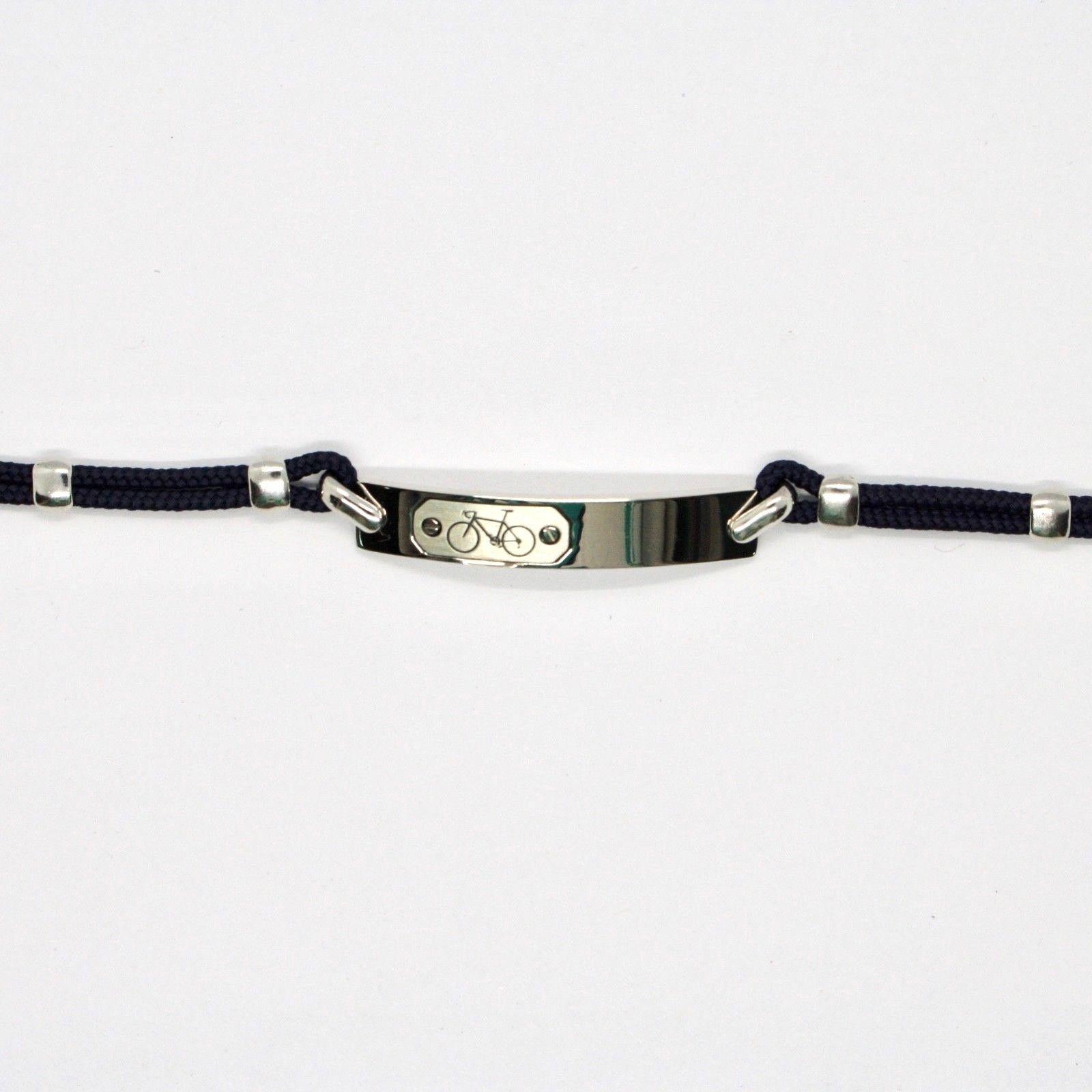 Bracelet en Argent 925 Rhodié avec Plaque Bicyclette Gravé et Corde 18 CM