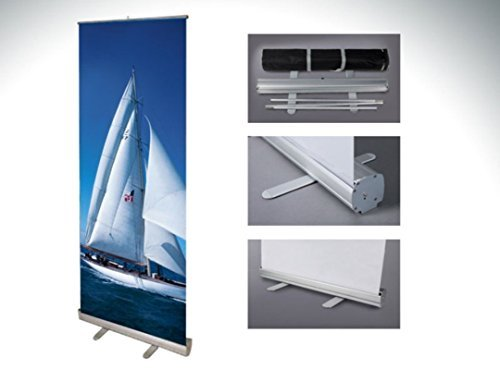 33x79 Retractable Banner Stand Roll Up Trade Show Display, Free Banner Printing
