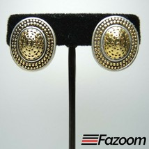 Gold & Silver Tone Oval Vintage Clip-On Earrings ~ Fashion Costume Jewelry - $16.82
