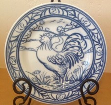 """Williams Sonoma Brittany Blue Rooster Salad Plate Farm Scene 7.75"""" Japan - $17.75"""