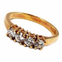 Four Stone Ring Vintage Gold Tone Cubic Zirconia Size 9 r202 - €15,91 EUR