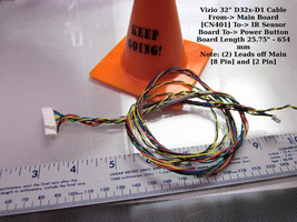 """Vizio 32"""" D32x-D1 Cable From-> Main Board [CN401] To-> IR Sensor Board To- - $13.00"""