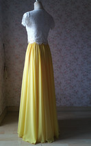 Yellow Chiffon Maxi Skirt Outfit Yellow High Waisted Floor Pleated Chiffon Skirt image 8
