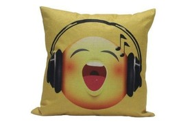 Emoji Pillow Case Music Face Emoticon Cushions Cover Square Home Decorat... - ₨865.58 INR