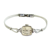 Vintage Elgin 10k RGP White Gold with Diamond Accents Ladies Wristwatch ... - $64.35