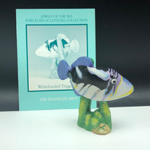 Franklin Mint Fish Figurine Porcelain Statue Jewels Sea Whitebanded Triggerfish - $29.65