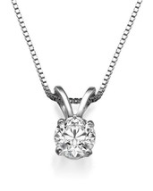 Silver 1ct Cubic Zirconia 6.5mm Round Solitaire Necklace - $11.75