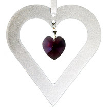 Aluminum and Crystal Heart Ornament  18mm image 1