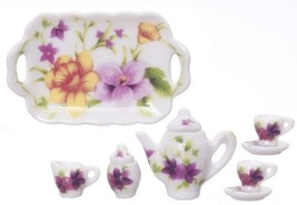 Dollhouse Miniature 8 Pc Multi Flowers Tea Set #RBD07 - $8.99