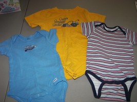 Boys One Piece Tee 24 month Snap Crotch Stripes Solid Baseball Dune Buggy - $6.45