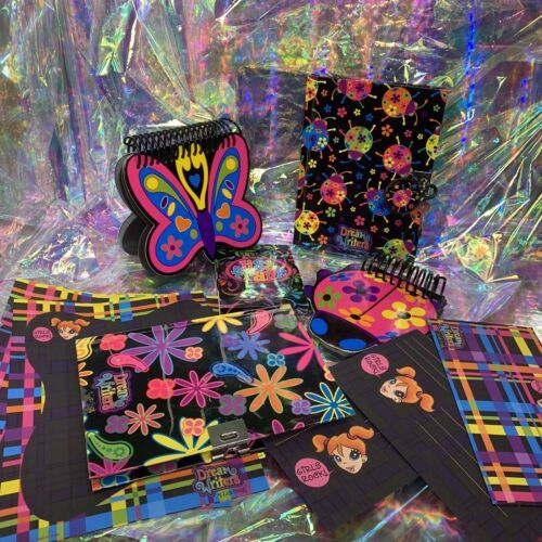 Lisa Frank Dream Writers Lot Ladybug Butterfly Sheets Notebooks Diary With Lock