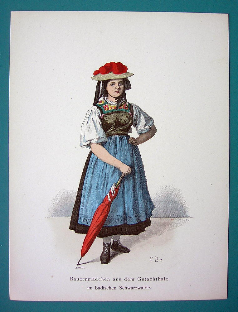 Primary image for GERMANY Costume Farming Girl Gutachthale Umbrella - 1880s Color Antique Print