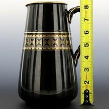 "Antique English Black Jackfield Pottery 8 1/4"" Pitcher Gold Band Reg Mark 1872 image 2"