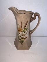 """Vintage Brown Porcelain Fall Floral Pitcher/Vase 10 5/8"""" - $15.00"""