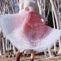 Women Maxi Tiered Tulle Skirt Outfit Plus Size Pink Blue Romantic Party Outfit image 5