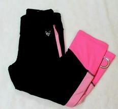 Justice Girls Athletic Capri Pants Size 12 Black Pink Soccer School Casu... - $17.41