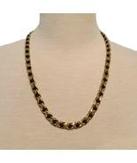 Vintage Signes Napier Gold Tone and Faux Black Jet Necklace Jewelry - $41.23