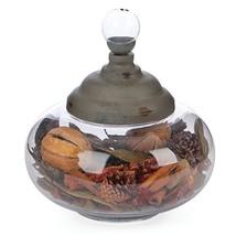 Round Glass Apothecary Jar w/ Metal Lid - Candy Jar - $22.10