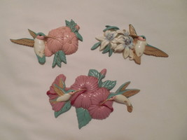 3 Burwood Products hummingbird in lilies wall decor plaques USA made pla... - $19.75