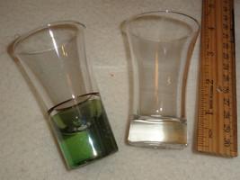 2 LIQUOR shot glasses - plain, 1 clear 1 w/grn band - $5.00