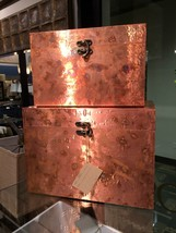 TWO NEW LARGE HANDCRAFTED OXIDIZED COPPER SHEETING DECORATIVE STORAGE BO... - $217.80