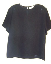 Sz L - Ingenuity Black Polyester Short Sleeve Career Top  - $28.49