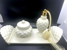 Vintage Avon Porcelain Vanity Dresser Set Quilted White Pearls Atomizer ... - $29.39