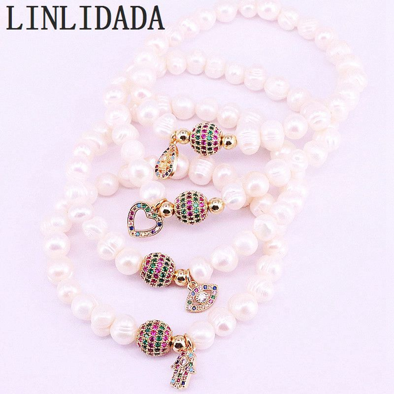 Primary image for 6Pcs Rainbow Zirconia Spacer Connector Beads with Natural White Pearl Beaded Bra