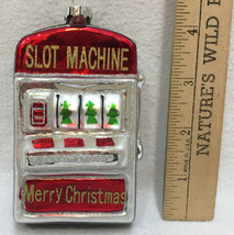 Slot Machine Glass Ornament Colorful Merry Christmas Casino Glitter Holiday - $9.89
