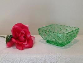 """Vintage Antique Westmoreland Green Vaseline Glass Square Dish 5"""" - $49.00"""