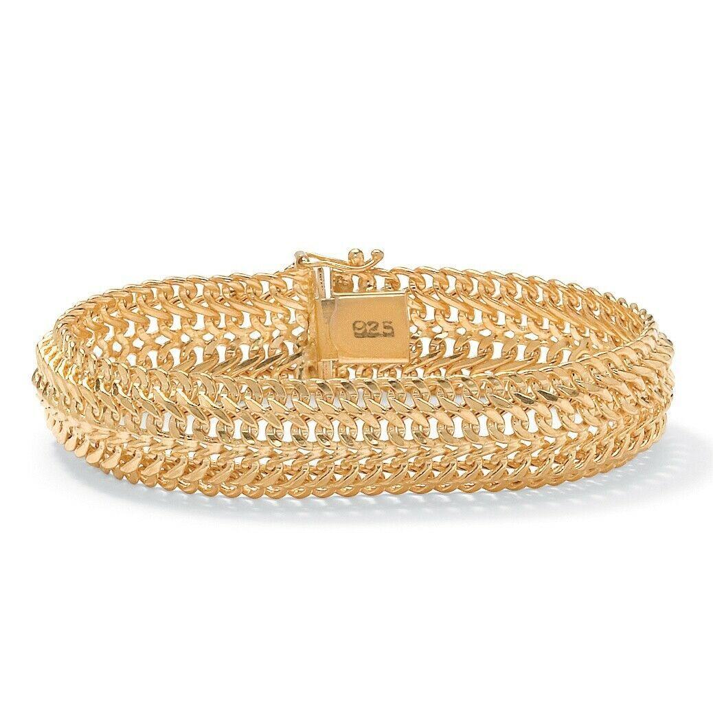 """Saduza-Link Bracelet in 18k Gold over Sterling Silver 7.25"""""""