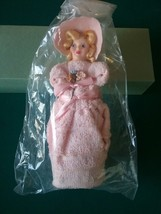 Vintage wash clothe doll for derocoration, bathroom, novelty. Pink w/ Bo... - $21.51