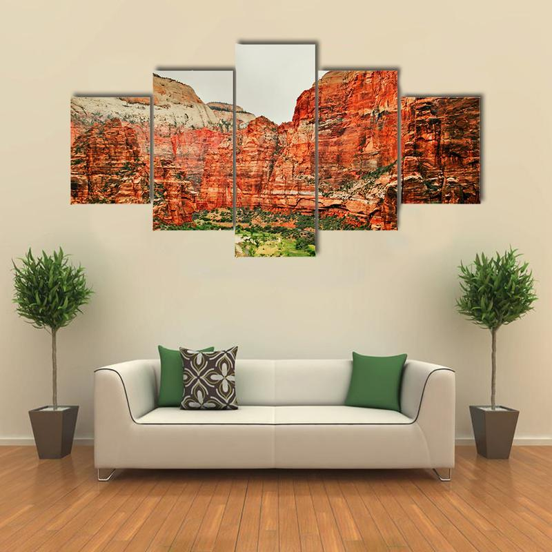 Home Decor Nation: Framed 5Pcs Zion National Park Canvas Print Painting Wall